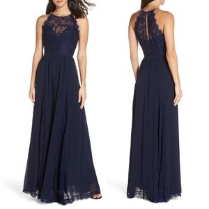 Heartloom Navy Blue Dakota Lace Halter Gown Size M